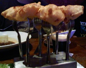 An appetizer I had to have as my meal: Scallop Forest - served on forks!