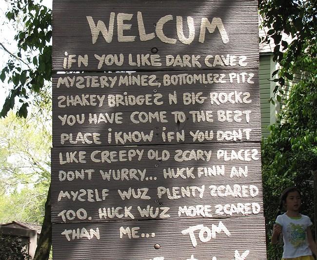 Tom Sawyer Island welcome sign