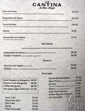 La Cantina de San Angel menu