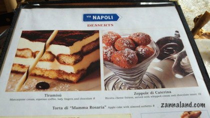 Via Napoli new dessert menu