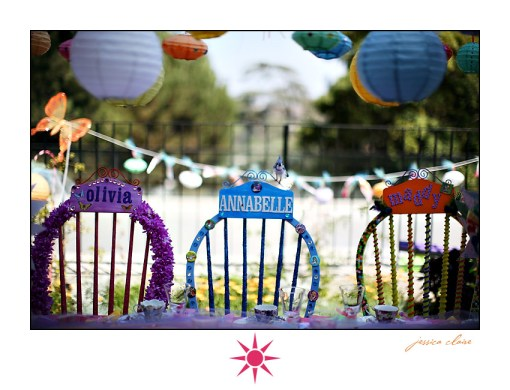 Alice in Wonderland birthday party chairs