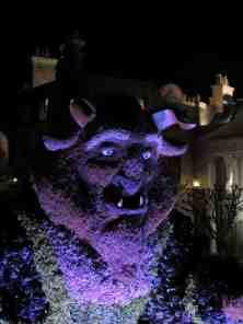 Beast topiary at night