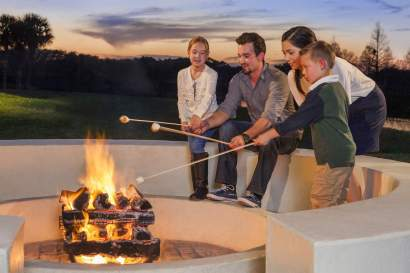 The firepit is a great family fun spot