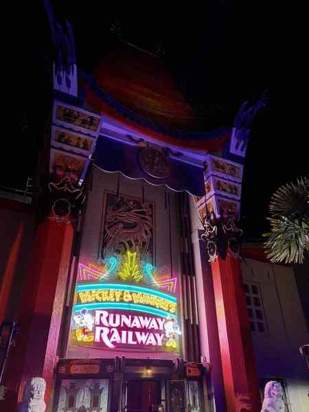 Mickey & Minnie's Runaway Railway neon marquee