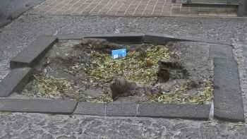 яма на тротуаре