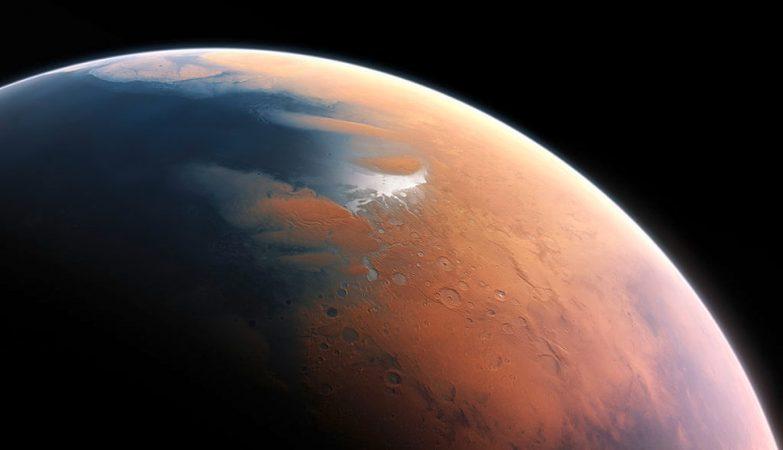 Conceito artística da superfície de Marte coberta de oceanos há quatro mil milhões de anos