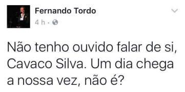 Post de Fernando Tordo sobre Soares e Cavaco