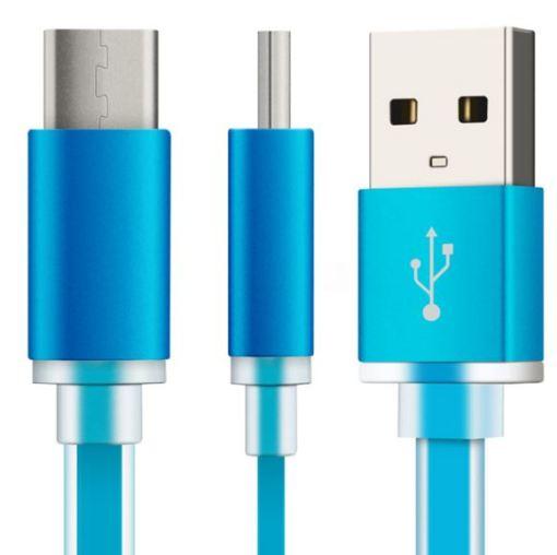 Cable plano carga USB 3.1 Tipo C Azul