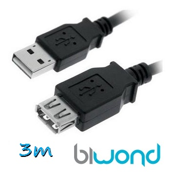 Cable USB 2.0 A/M-A/H 3m