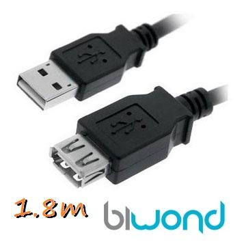Cable USB 2.0 A/M-A/H 1.8m BIWOND