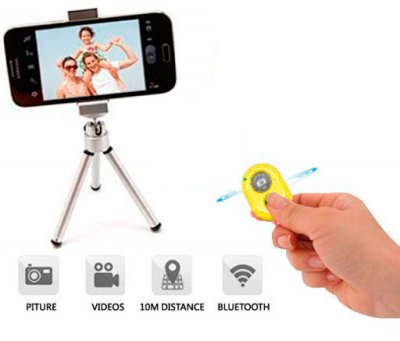 Disparador Cámara remoto Bluetooth Amarillo