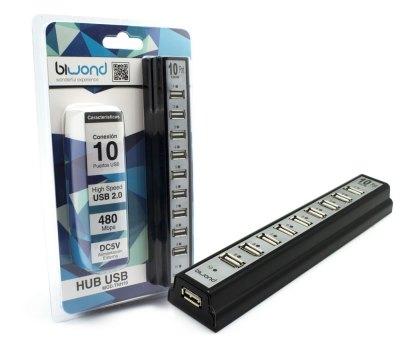 Hub USB 10 Puertos Con Fuente Alimentación TNH10 Biwond