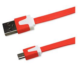 Cable Plano Micro USB 1m Rojo