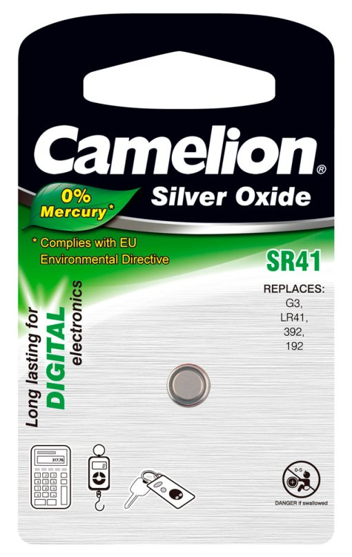 Boton Oxido plata SR41W 1.55V 0% Mercurio (1 pcs) Camelion