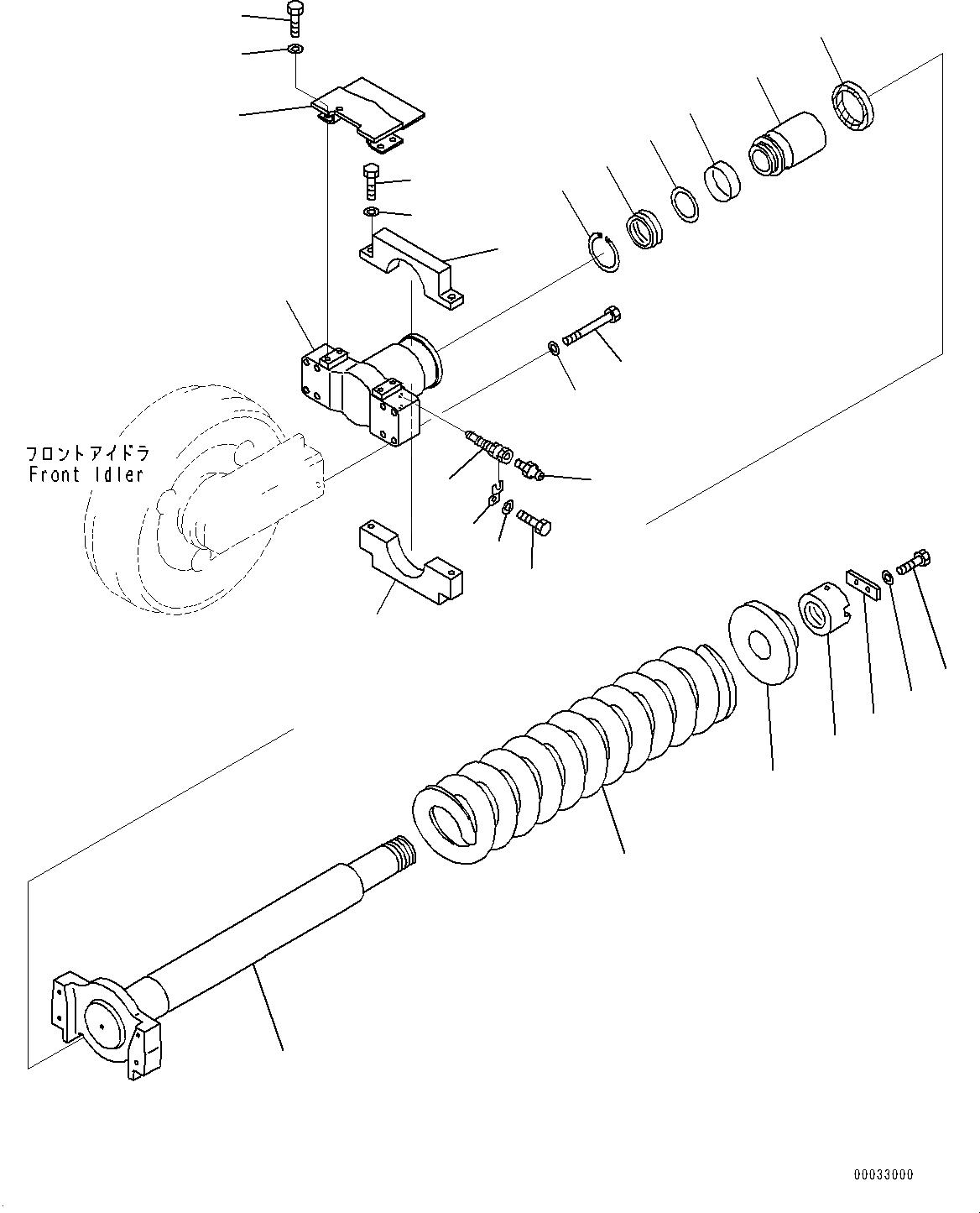 209-30-55121 Komatsu УПОРНАЯ ВИЛКА НАПРАВЛЯЮЩЕГО КОЛЕСА