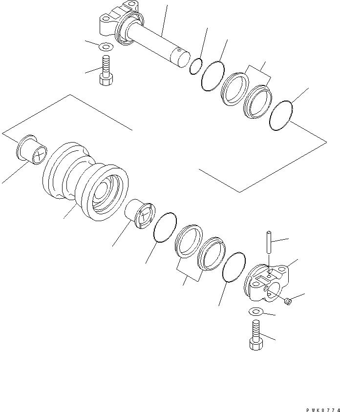 22B-30-16350 Komatsu ОСЬ КРЕПЕЖНАЯ В СБОРЕ