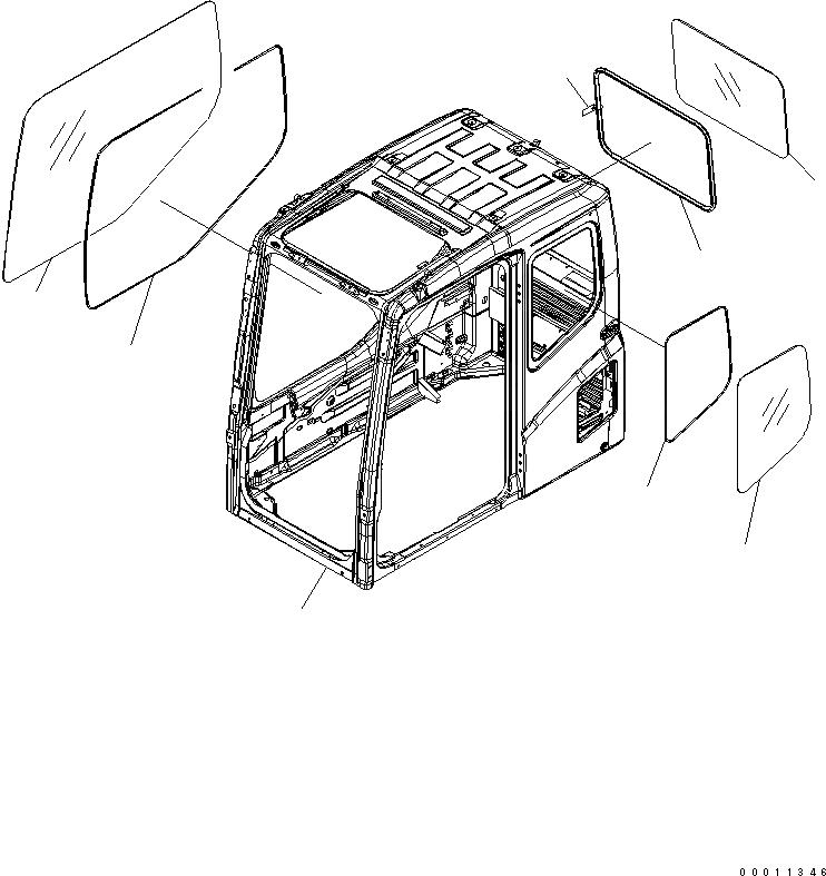 208-53-11270 Komatsu Стекло заднее 575 х 810 (komatsu)