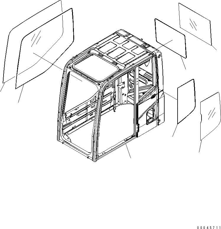 20Y-53-11241 Komatsu СТЕКЛО