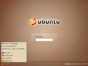 Ubuntu log-in screen