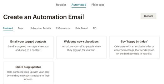 Création d'un e-mail automatisé dans Mailchimp.