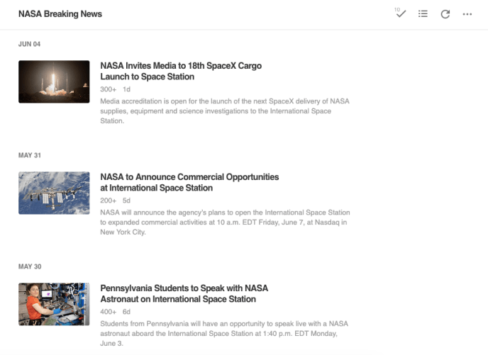 RSS feed in Feedly