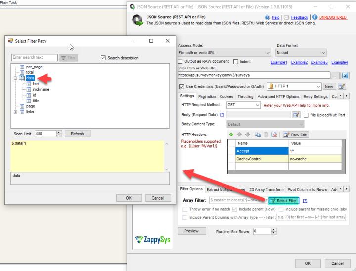 JSON Source Select Filter