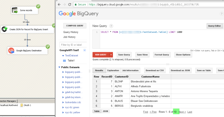 Loading data into Google BigQuery using SSIS