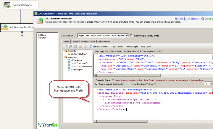 SSIS XML Generator Transform - Preview of complex XML using namespace and prefix