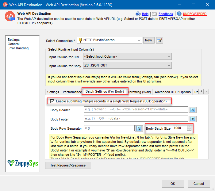 Web API Destination batch settings configuration