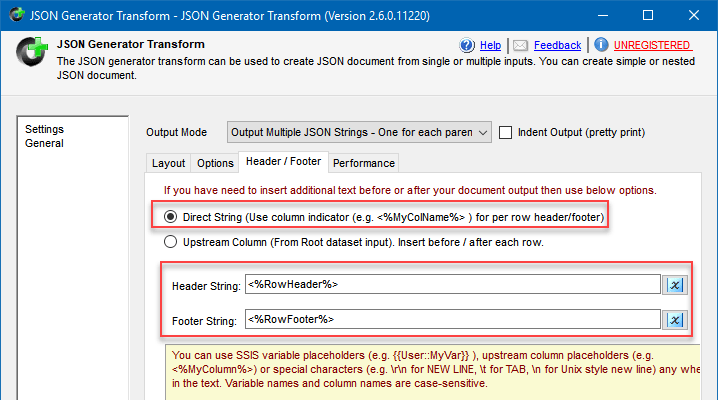 JSON Generator Transform configuration to convert rows into JSON suitable for Elasticsearch Bulk operation