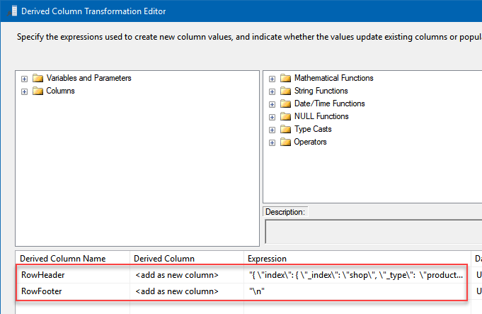 Derived Column configuration to add prefix and header and footer to a JSON
