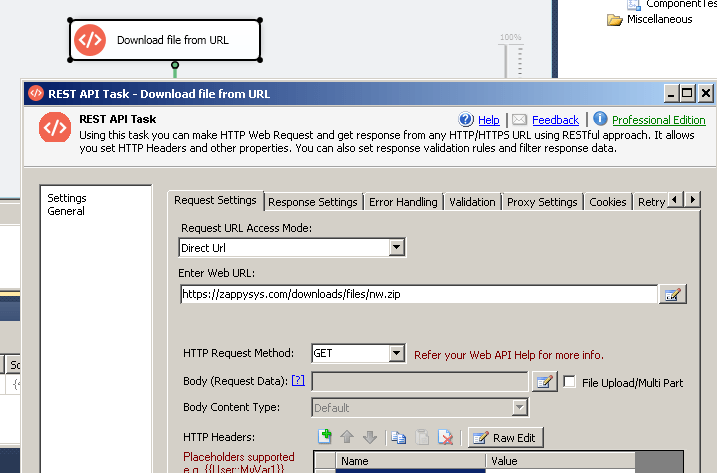SSIS REST API Task - Download File from URL (Request Settings)