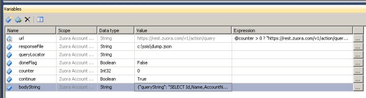 SSIS Variables for Zuora API Integration