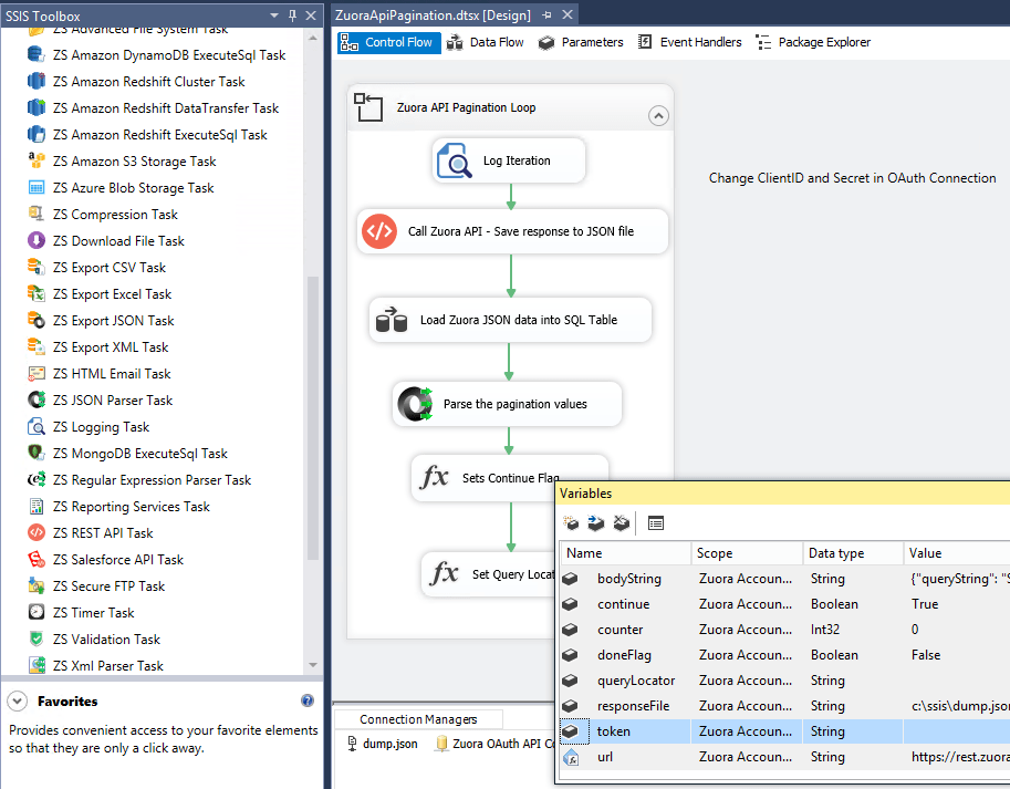 How to Import / Export data from Zuora API using SSIS