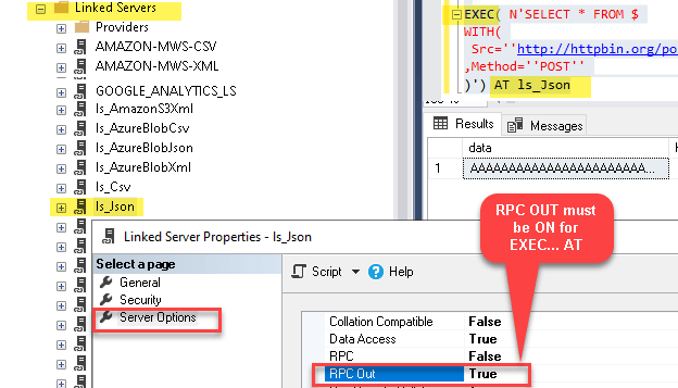 RPC OUT setting for EXEC AT statement in SQL Server Linked Server