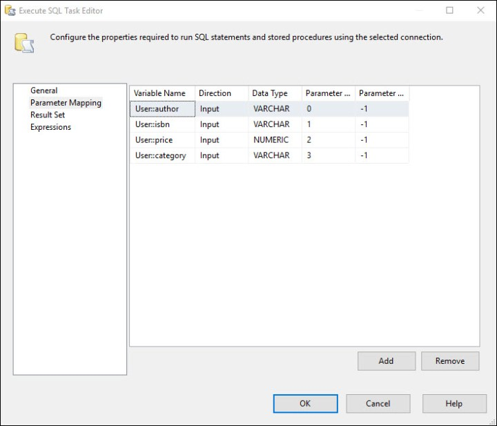 Map SSIS variables