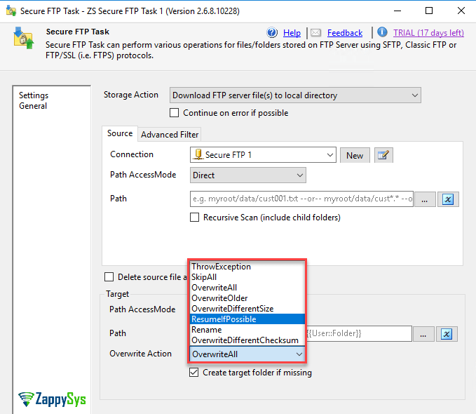 Option to overwrite files in SSIS FTPS