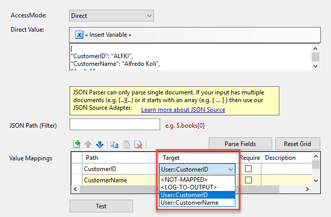 Map json into variable in SSIS