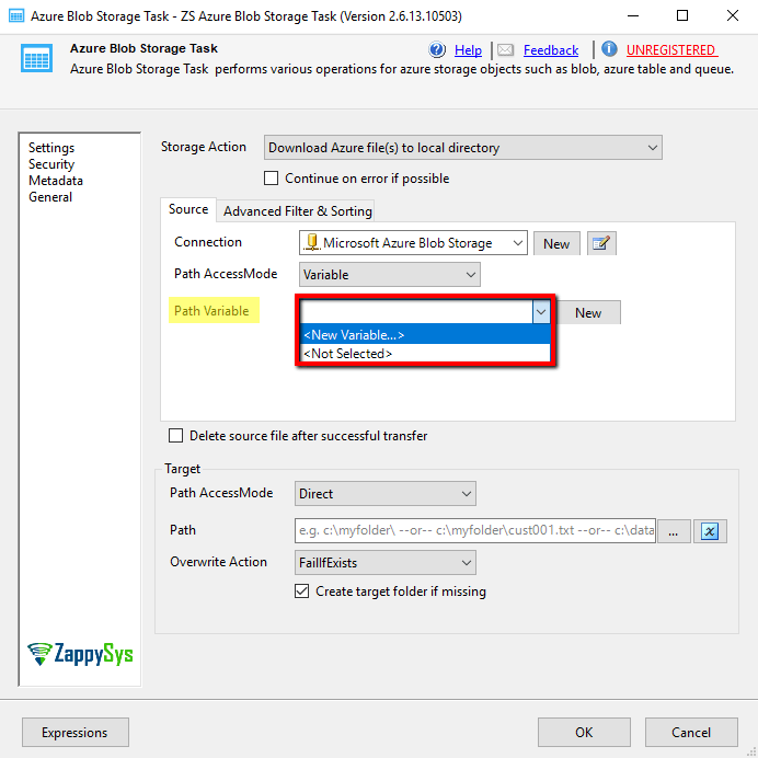 Select Path Variable Option