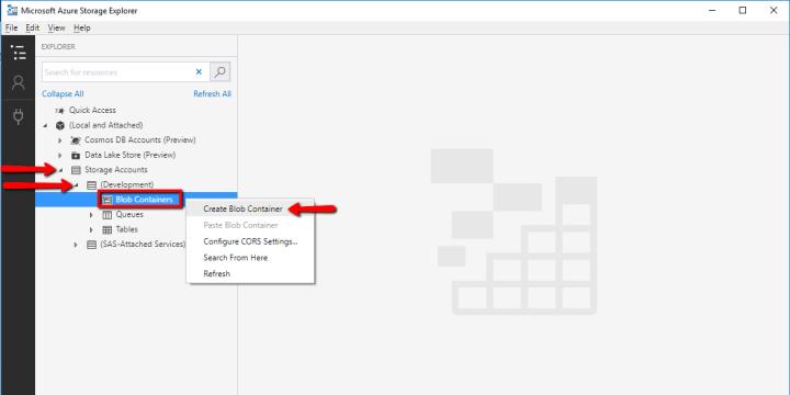Microsoft Azure Storage Explorer: Create Blob Container