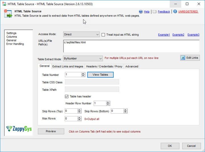 ssis html table read