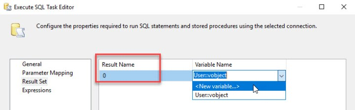 ssis sql result to variable