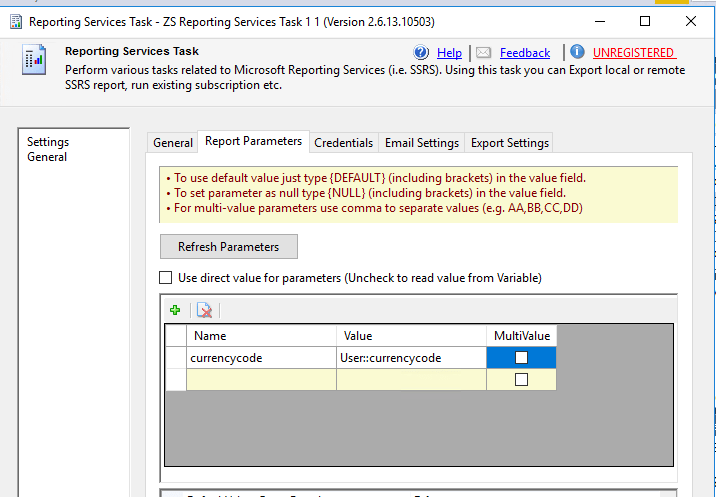 SSIS mapping of SSRS paremeters and SSIS variables