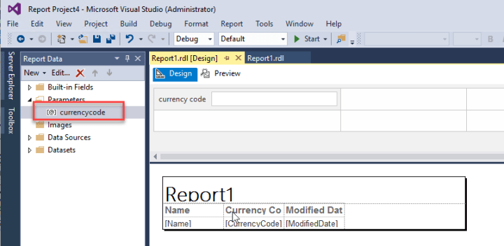 SSRS reporting with parameters