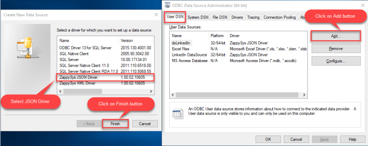 ODBC User DSN Tab: Add new Driver Screen