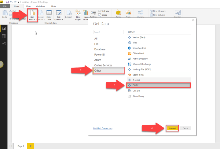 Select ODBC from Get Data Popup in Power BI