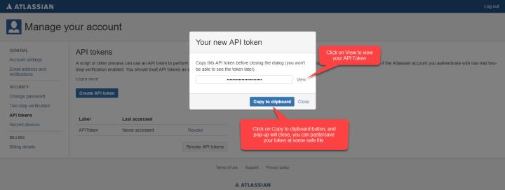 Generate API Token - Step - 3
