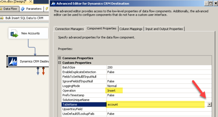 Bulk Insert Settings for SSIS Dynamics CRM Destination
