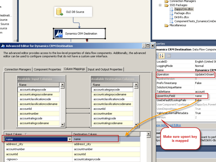Configure Dynamics CRM Mapping for Upsert in SSIS