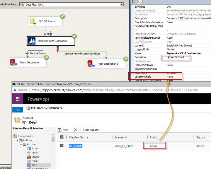 Performing Upsert (Update / Insert) using SSIS Dynamics CRM Destination